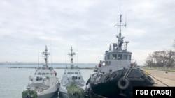 Захоплені Росією українські кораблі в Керчі в анексованому Криму, 26 листопада 2018 року