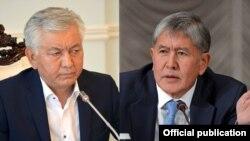 КСДП фракциясынын лидери Иса Өмүркулов жана КСПДнын лидери, мурдагы президент Алмазбек Атамбаев.