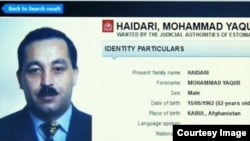 "The Interpol ""wanted"" listing for Mohammad Yaqub Haidari, a nominee for agriculture minister in the new Afghan cabinet"