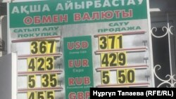 Алматыдағы ақша айырбастау пунктерінің біріндегі валюта бағамдары. 5 қыркүйек 2018 жыл.
