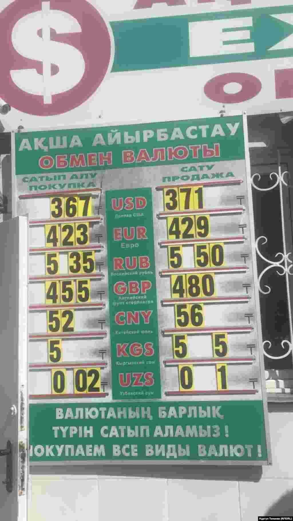 2018 жылы жазда теңге тағы да біртіндеп құнсызданды.Ақша айырбастау орындарында оның 1 АҚШ долларына шаққандағы бағамы 378 теңгеге жетті. Суретте: 2018 жылғы 5 қыркүйектегі Алматыдағы валюта бағамы.