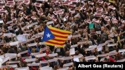 Фото з попередньої демонстрації з вимогами «звільнення політв'язнів» і на підтримку незалежності Каталонії, Барселона, 8 листопада 2017 року