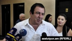 Armenia -- Prosperious Armenia Party leader Gagik Tsarukian speaks to journalists, June 14, 2019.