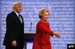 Дональд Трамп та Гілларі Клінтон на перших президентських дебатах. Нью-Йорк, 26 вересня 2016 року