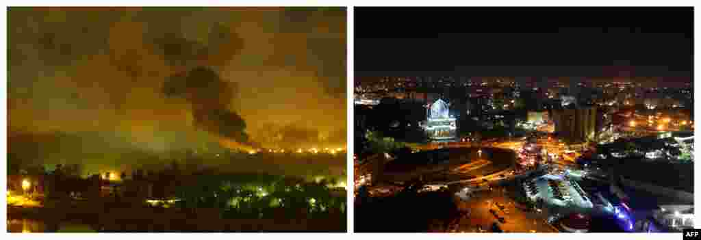 Left: Smoke covers the presidential palace in Baghdad during a massive U.S.-led air raid on March 21, 2003. Right: A night view of Baghdad's Fardoos Square taken from the rooftop of the Hotel Palestine on February 9, 2013.