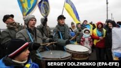 Під час акції «Живий ланцюг Соборності» . Київ, 22 січня 2020 року