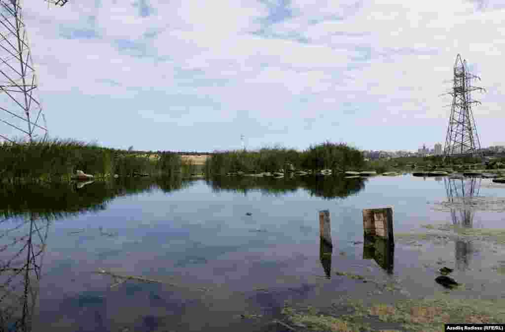 Suyun səviyyəsi aşağı endikcə gölə atılan zibillər üzə çıxmağa başlayır və gölün mənzərəsini dəyişir.