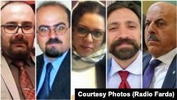 از راست: قاسم شعله سعدی، فرخ فروزان، هدی عمید، آرش کیخسروی، و پیام درفشان