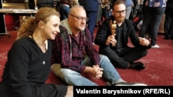 Маша Алехина, продюсер Александр Чепарухин и режиссер Юрий Муравицкий
