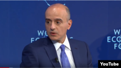 Saudi Foreign Minister Adel al-Jubeir speaking at a panel at DAVOS, Switzerland,.