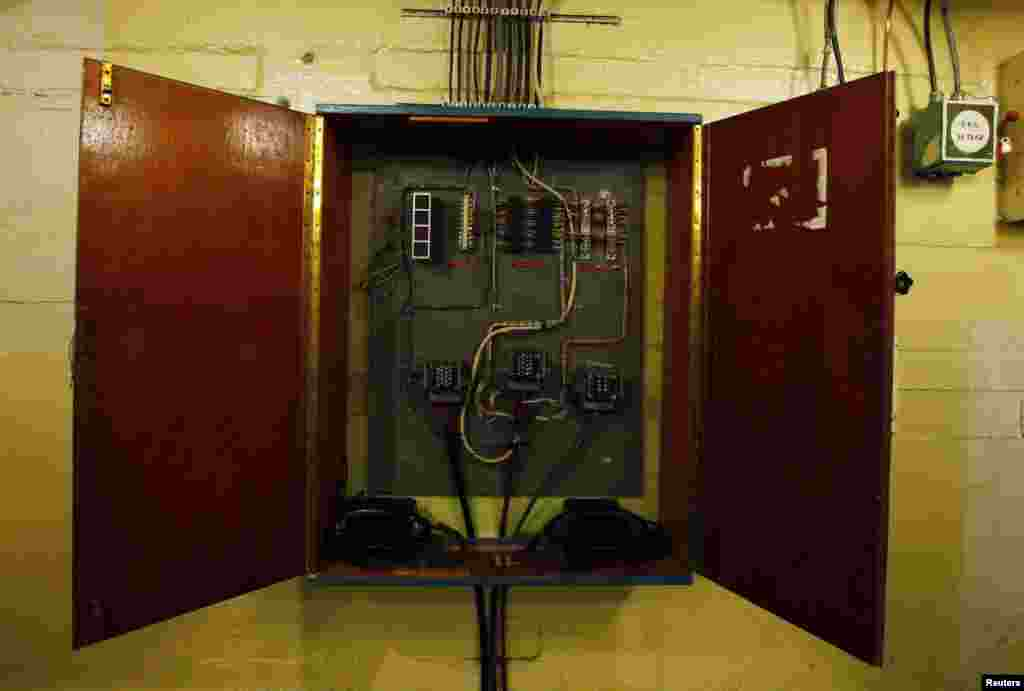 A telephone switchboard inside the weapons depot