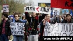Sa protesta vojnog i policijskog sindikata u Beogradu (8. april 2017)