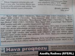 """Retro MMC haqqında """"Xalq"""" qəzetində çap olunan elan"""