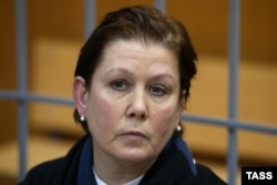 Natalya Sharina, the director of Moscow's Ukrainian Literature Library, attends a court hearing in Moscow on November