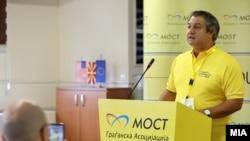 Прес конференција на Граѓанската асоцојација МОСТ. Претседателот на организацијата Дарко Алексов.