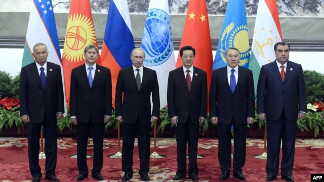 The leaders of Shanghai Cooperation Organization states Uzbekistan, Kyrgyzstan, Russia, China, Kazakhstan, and Tajikistan in Beijing at the SCO's 2012 summit.