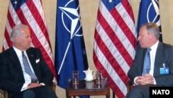 U.S. Vice President Biden (left) with NATO's Jaap de Hoop Scheffer at a recent meeting.