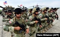 """Грузинские военные на учениях """"Достойный партнёр 2018"""" на тренировочной базе Вазиани"""