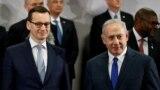 Kryeministri polak, Mateusz Morawiecki dhe ai izraelit, Benjamin Netanjahu gjatë samitit në Varshavë. 14 shkurt, 2019.