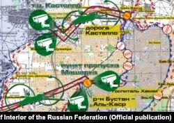 Карта гуманитарных коридоров, предоставленная Минобороны РФ