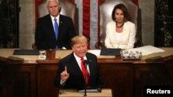Президент США Дональд Трамп выступает с ежегодным обращением в конгрессе. 5 февраля 2019 года.