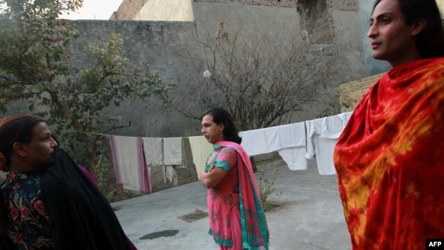 "Pakistani hijras describe themselves as ""professional wedding dancers,"" but supporters say they are often forced to earn income through begging and prostitution."