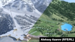 Слайд c картинкой, как будет выглядеть «Кок-Жайляу» зимой и летом.