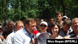 Alături de Maia Sandu, la un miting împotriva schimbării sistemului electoral