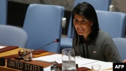 U.S. Ambassador to the UN Nikki Haley speaks as she attends a Security Council meeting on the situation in the Middle East at UN headquarters in New York on April 12.