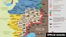 Ուկրաինայի արևելքի քարտեզ, որում պատկերված է իրավիճակը մարտական գործողությունների գոտում, 10-ը մայիսի, 2015թ.