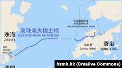 Макао менен Гонконгдун ортосундагы кысык. Көк сызык көпүрөнүн ордун көрсөтүүдө