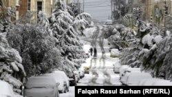 شوارع عمان بعد العاصفة الثلجية اليسكا