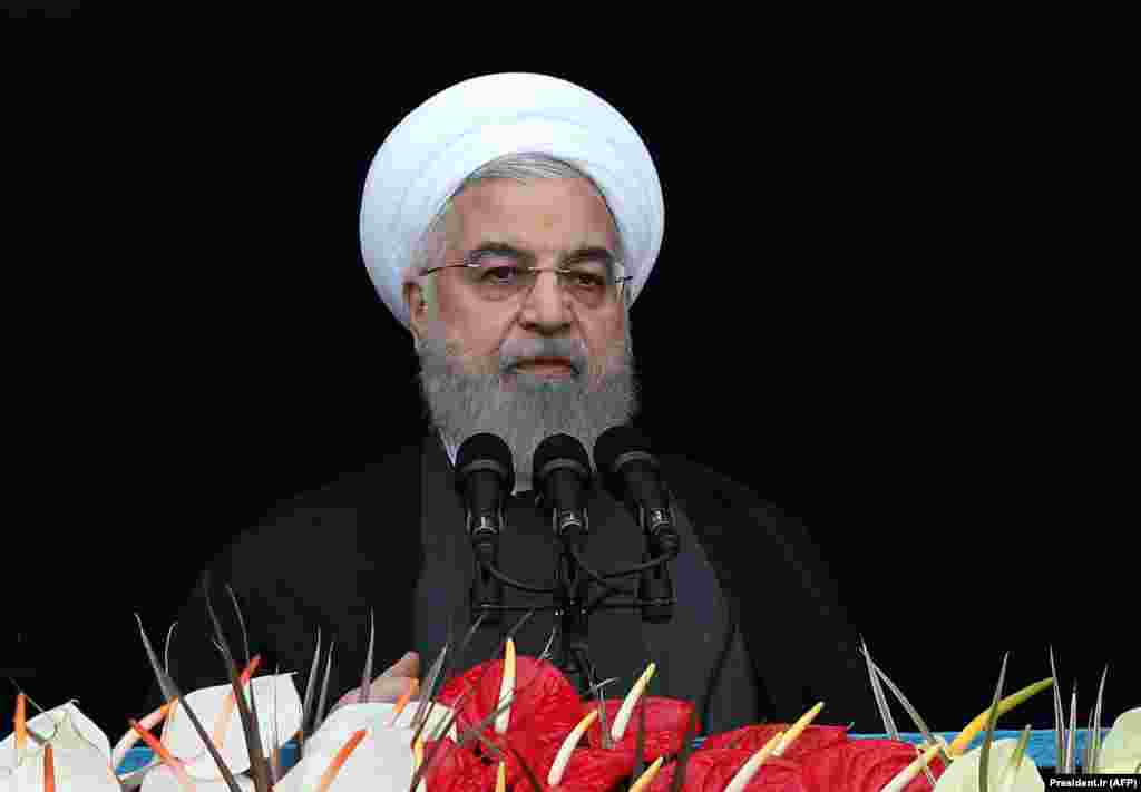 "In his address, Rohani said the ""enemy will never reach its evil objectives,"" vowing that Iran will defeat U.S. sanctions."