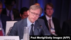 U.S. -- Brian Hook, Director of Policy Planning, U.S. Department of State, speaks at The 2017 Concordia Annual Summit at Grand Hyatt New York in New York, September 19, 2017
