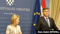 Predsjednica Evropske komisije Ursula von der Leyen sa hrvatskim premijerom Plenkovićem u Zagrebu, ilustrativna fotografija