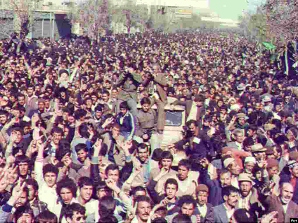 Supporters of the Islamic revolution demonstrate in Tehran, February 1979.