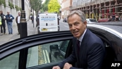 "Tony Blair outside TV studios in London on September 6 as part of his promotional appearances for his new book, ""A Journey"""
