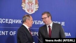 Ministri i Jashtëm i Rusisë, Sergey Lavrov dhe presidenti serb, Aleksandar Vuçiq. Beograd, 15 dhjetor 2020.