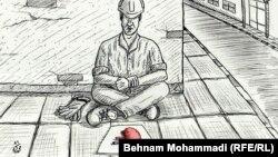 Eýran. Böwregini satýan işçiniň karikaturasy