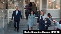 Специјалните јавни обвинителки Фатиме Фетаи и Катица Јанева пред Кривичниот суд во Скопје на 22 февруари 2017