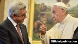 Vatican - Pope Francis meets with Armenian President Serzh Sarkisian in the Vatican, 5 April 2018.