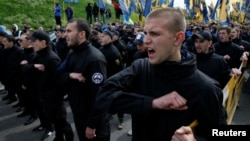 Ukraine's Azov movement includes many war veterans and militant members with openly neo-Nazi views. (file photo)