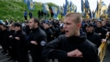 Members of the Ukrainian Interior Ministry's Azov Battalion demonstrate in Kyiv.