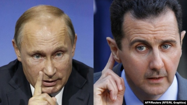 Russian President Vladimir Putin (left) and his Syrian counterpart, Bashar al-Assad: