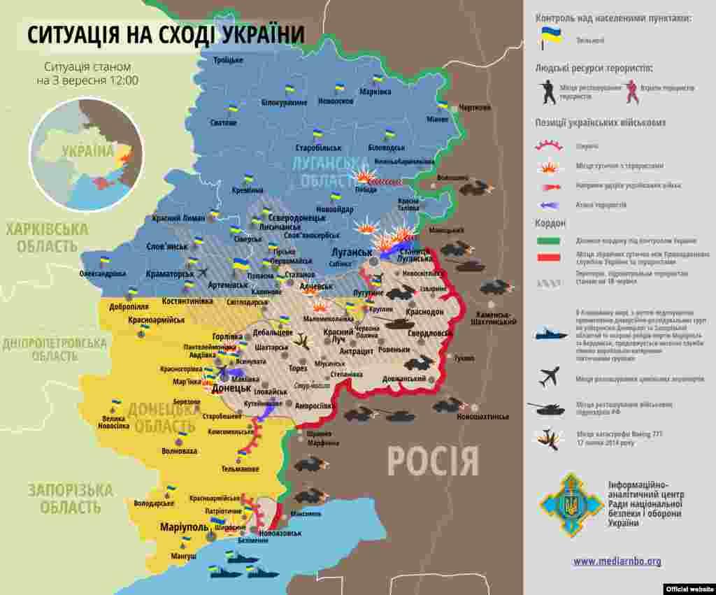 Ukraine – UKRAINIAN Map: Situation in counter-terrorist operation zone, 03 Sep2014