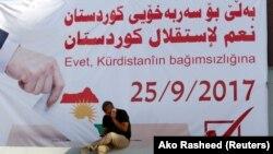 Кіркук, плакат із закликом проголосувати на референдумі «Так незалежності Курдистану», фото 10 вересня 2017 року