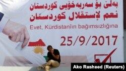 Плакат із закликом проголосувати на референдумі «Так незалежності Курдистану». Кіркук, 10 вересня 2017 року