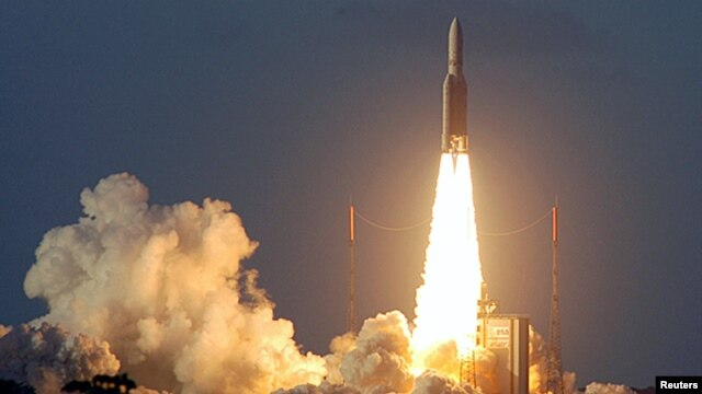 An upgraded Ariane-5 rocket blasts off from Kourou in French Guiana in 2005.