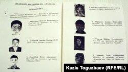 Фрагмент листовки c объявлением лиц, подозреваемых в организации массовых беспорядков в Жанаозене, 25 декабря 2011