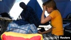 Украинские беженцы во временном лагере
